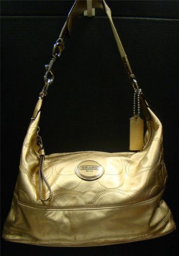a21839d1d0f Coach F18882 Signature Stitch Gold Metallic Leather Hobo Shoulder Bag  Handbag   eBay