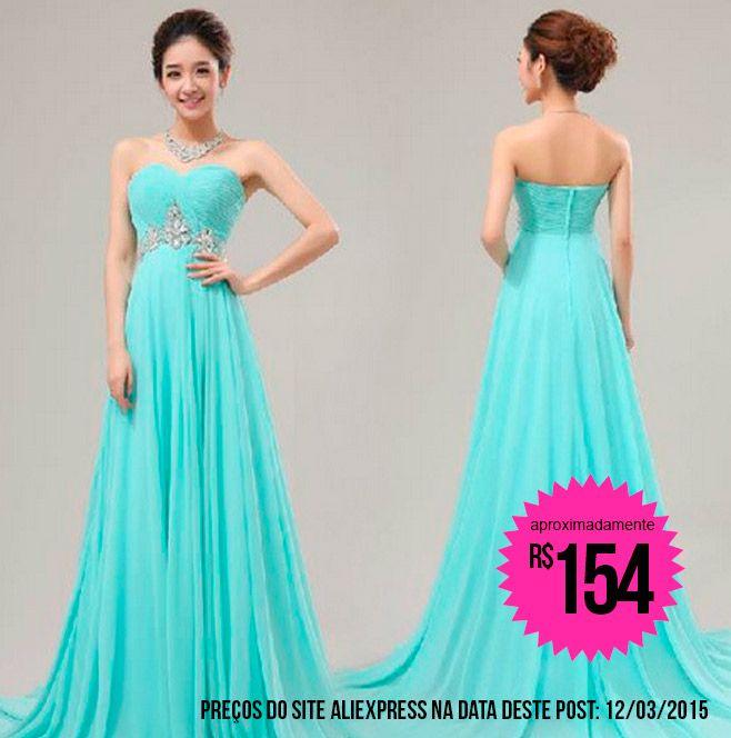 Vestido de festa azul tiffany | vestido madrinha | Pinterest