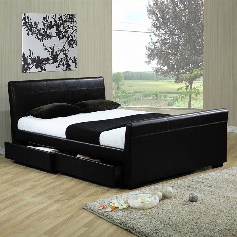Space & Shape Leather bed, Bed sizes, Bed