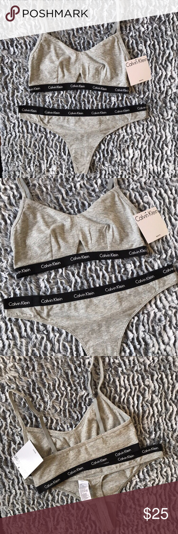 8b97274b01ce Calvin Klein Bra and Thong Panty Matching Logo Set Calvin Klein Gray  Bralette and thong matching set Pullover style bra with small cutout front  detail, ...