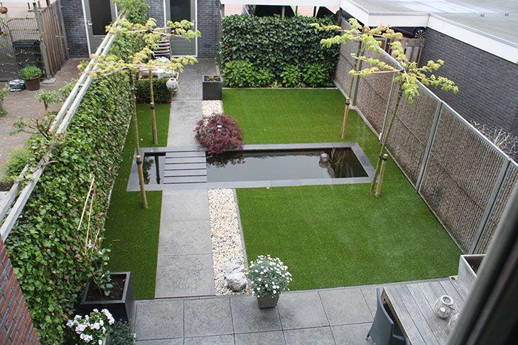 Voorbeeldtuinen Kleine Tuin : Voorbeeldtuinen kieskunstgras tuin vijver