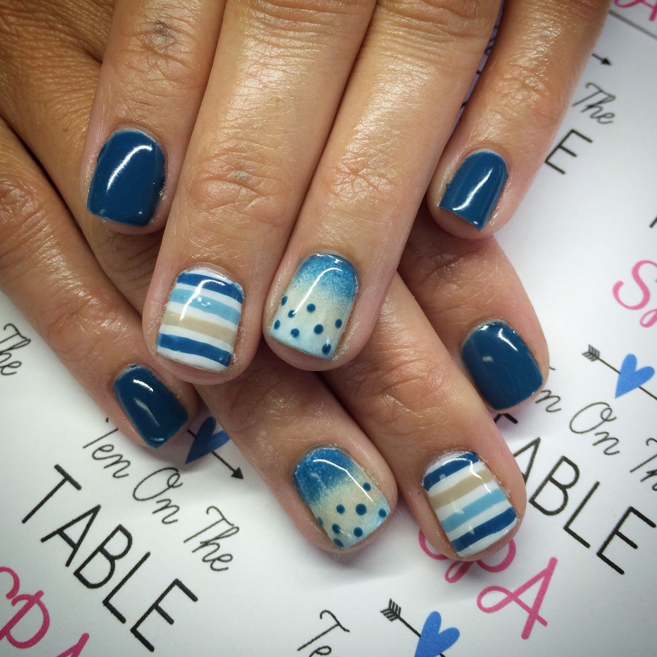 Ombré. gradient nail design. Nail art. Dots and stripes. Blue nails ...
