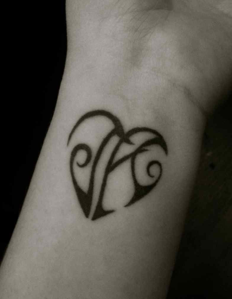Tattoo On My Wrist A Heart With The Initials Of Children J And Could I Do This M C