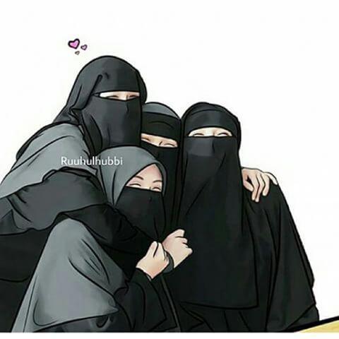 Gambar Kartun Muslimah Bercadar Bersama Teman Islamic Duties In