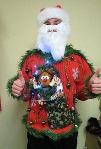hillbilly light up ugly christmas sweater party redneck hunter l gun poppers ebay - Redneck Christmas Sweaters