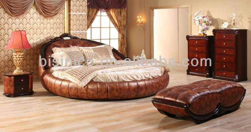 Contemporary Luxury Bedroom Furniture Set,Golden Genuine Leather Round Bed,Luxury  Leather Round King