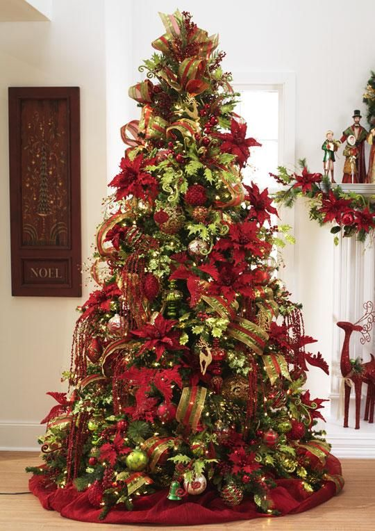beautiful christmas tree featuring red green and gold ornaments - Simple But Elegant Christmas Tree Decorations