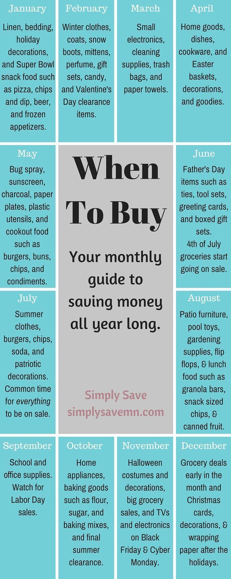 When to buy a monthly guide saving money life hacks and frugal when to buy guide monthly guide ho saving money all year long appliances linens clothing kristyandbryce Image collections