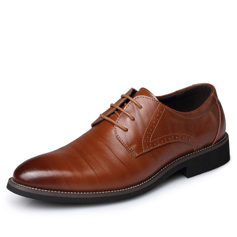 New High Quality Genuine Leather Men Brogues Shoes Lace-Up Bullock Business Dress