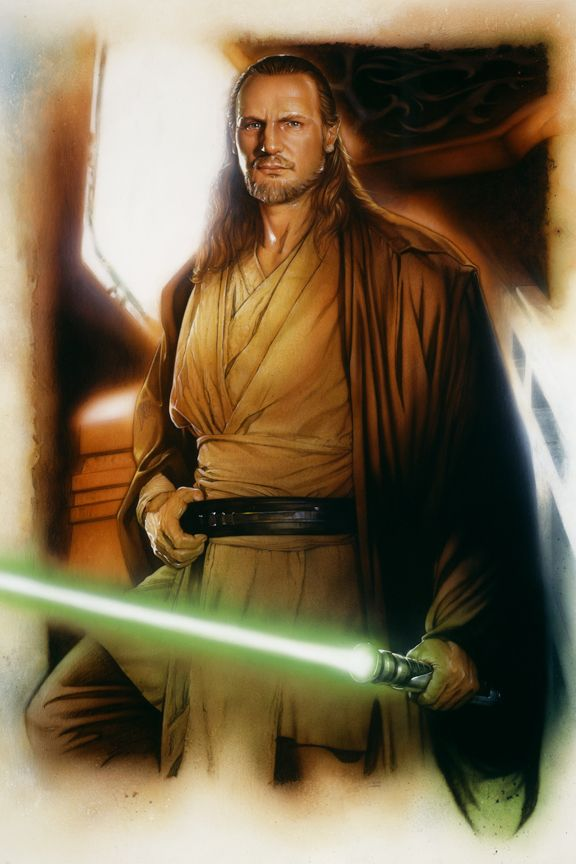 Qui Gon Jinn Liam Neeson Star Wars Character Art Movie
