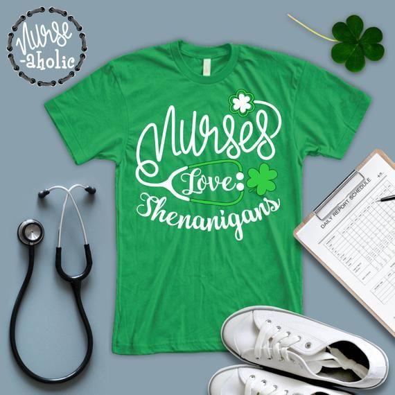 79a0c3fe062 Green Nurses love Shenanigans  Lucky Nurse Shirt  Funny Nurse St Patrick Day  T shirt