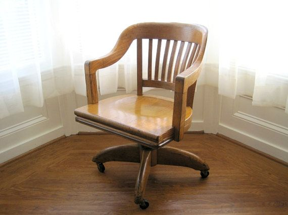 Vintage Oak Swivel Office Chair Gunlocke By GoldenDaysAntiques, $180.00