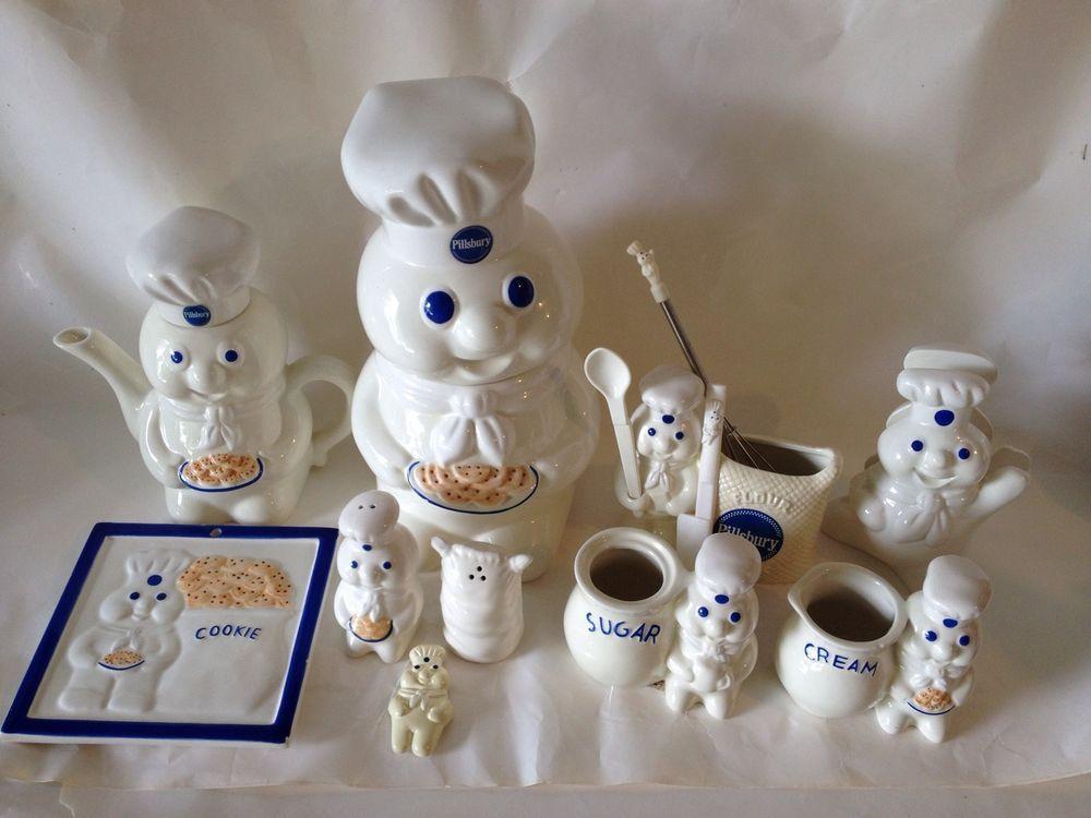pillsbury doughboy cookie jar cream sugar utinsels trivet salt pepper teapot - Pillsbury Dough Boy Halloween Cookies