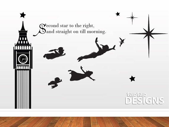 Peter Pan Wall Mural Second Star To The Right Quote Wall Decal