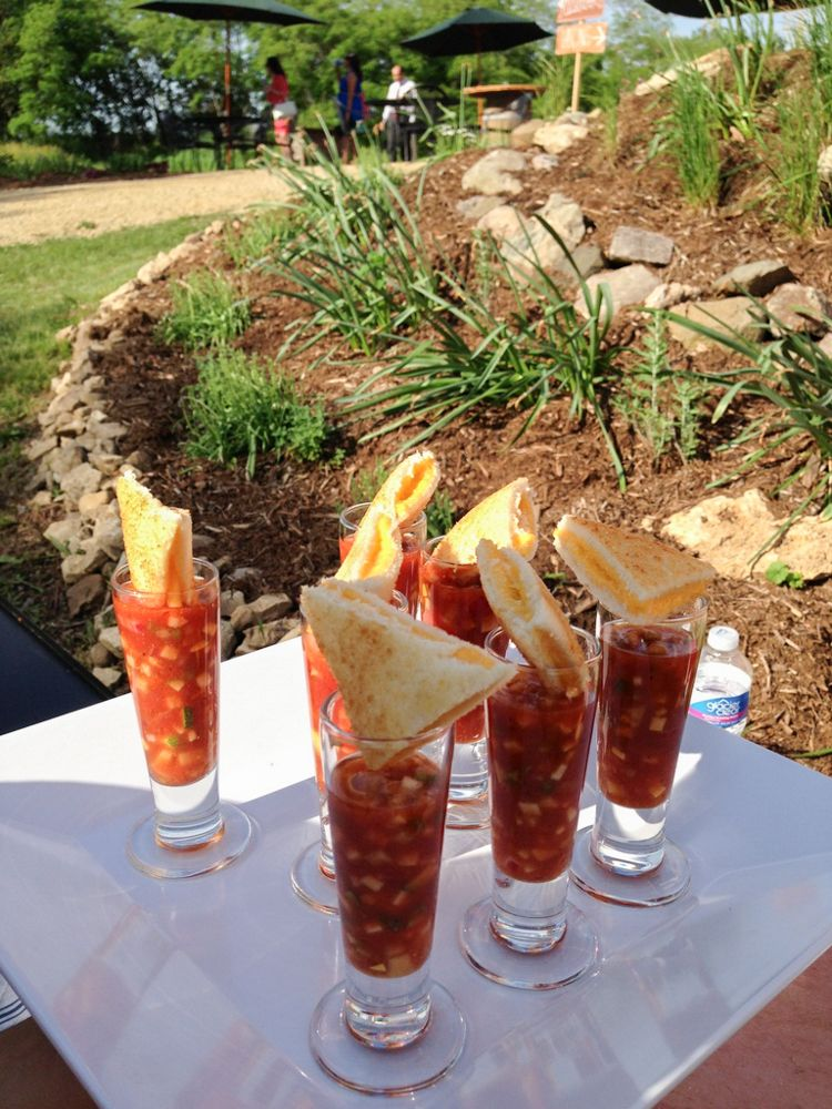Grilled cheese and a tomato gazpacho shooter Event