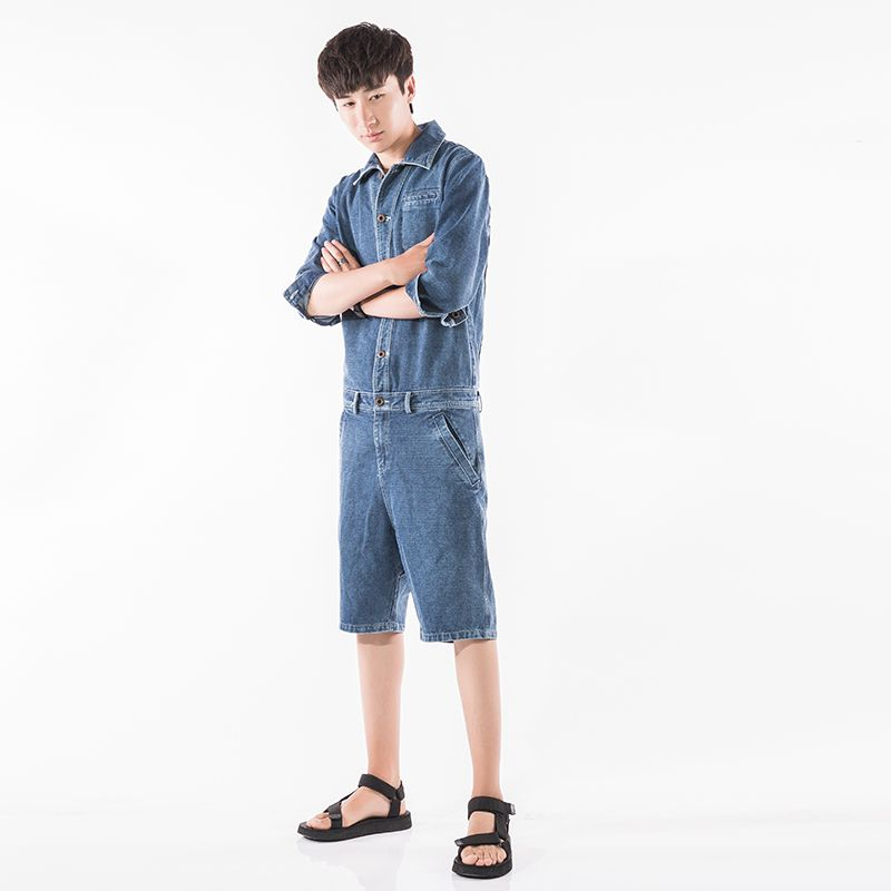 Summer Mens Runway Short Pant Overalls Jumpsuits Siamese Trousers Long SLeeve