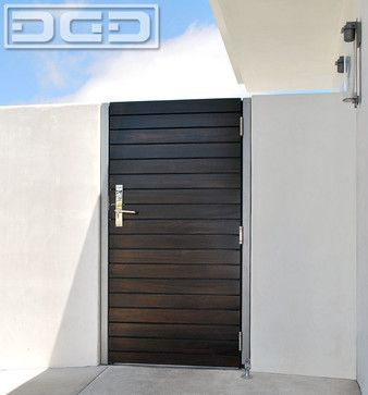Custom Crafted Modern Side Gate In A Horizontal Slat Design With Chrome Hardware Modern Front Doors Door Gate Design Side Gates Modern Front Door