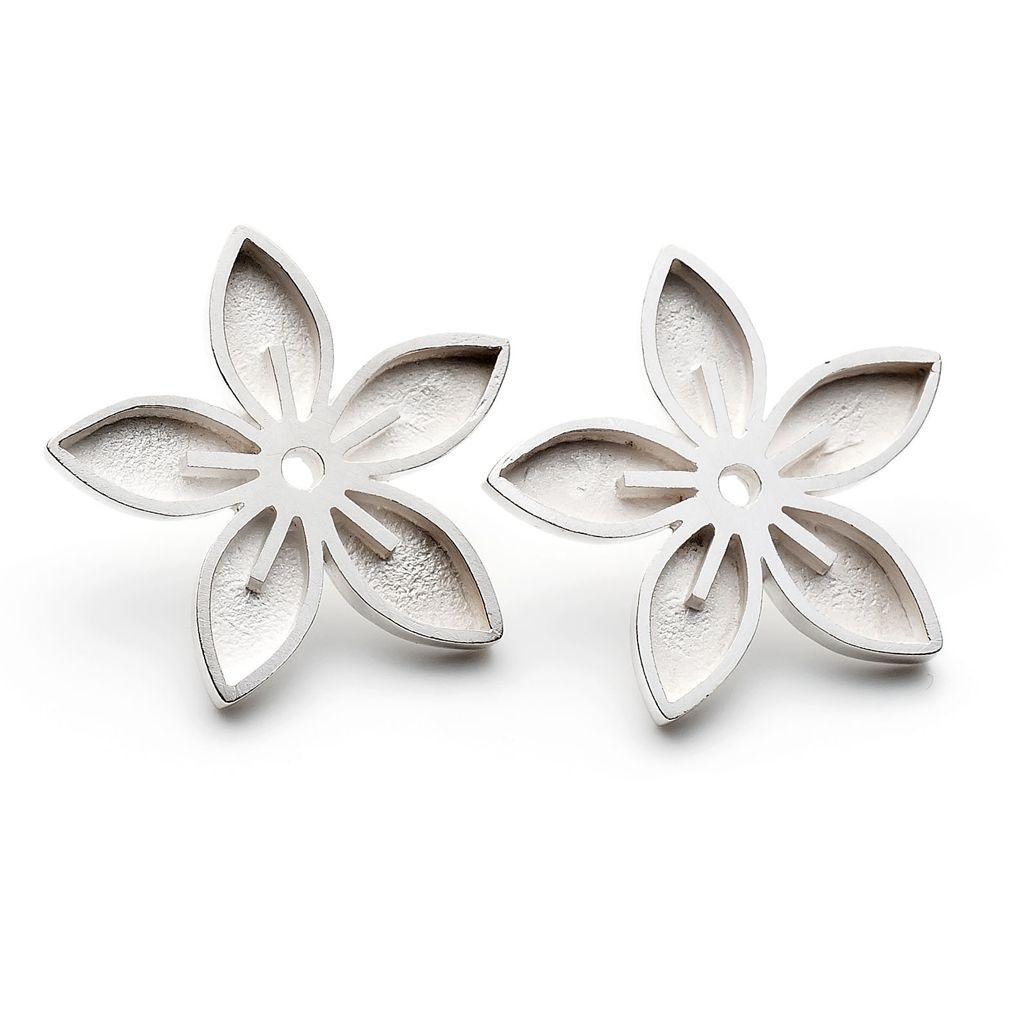 Silver Flower Stud Earring Prom