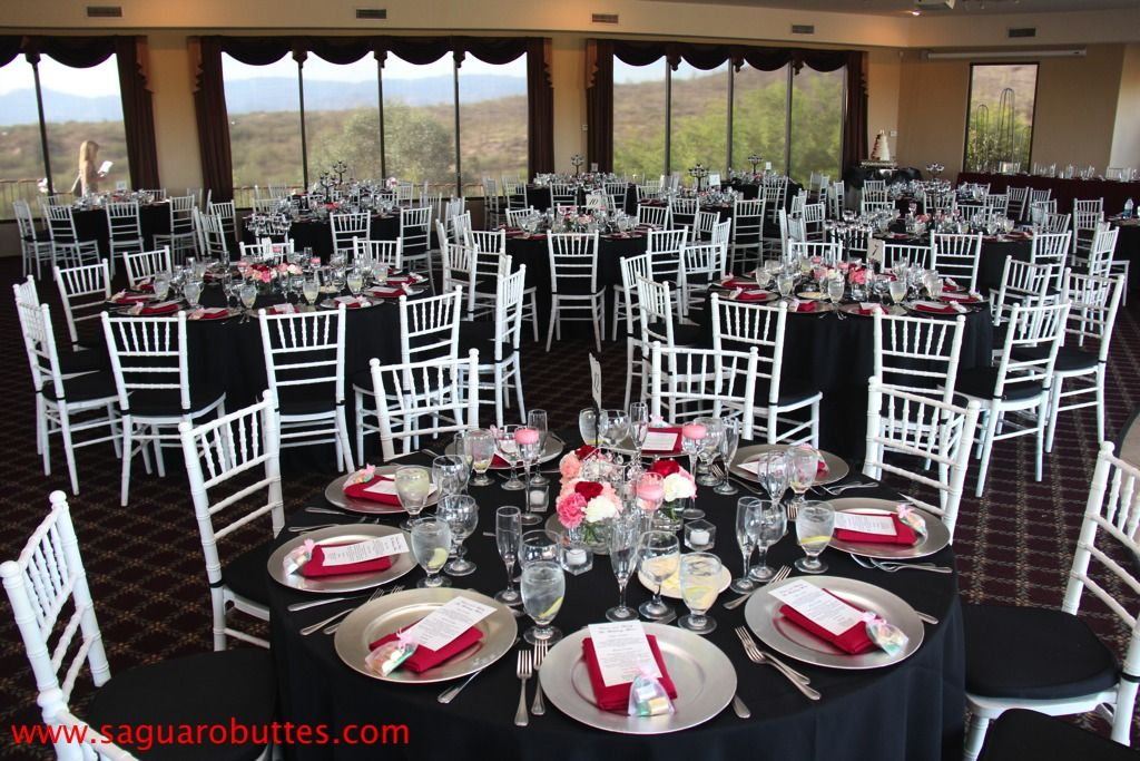 Black White And Red Wedding Table Setup