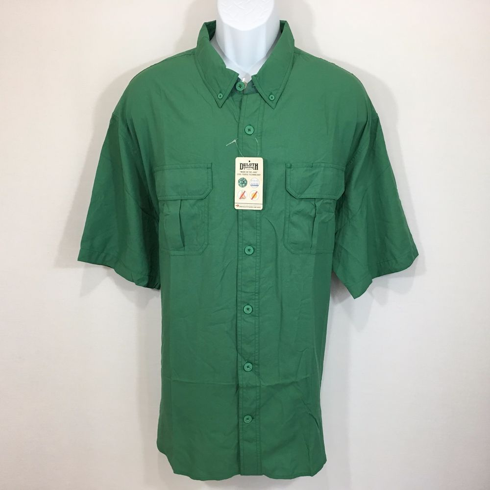 Duluth Trading Fishing Shirt 2XL Green Nylon Button Up #DuluthTradingCo #ButtonFront