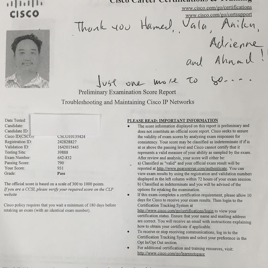 We are proud of our student who has passed cisco ccnp we are proud of our student who has passed cisco ccnp troubleshooting exam asmchangelives 1betcityfo Images