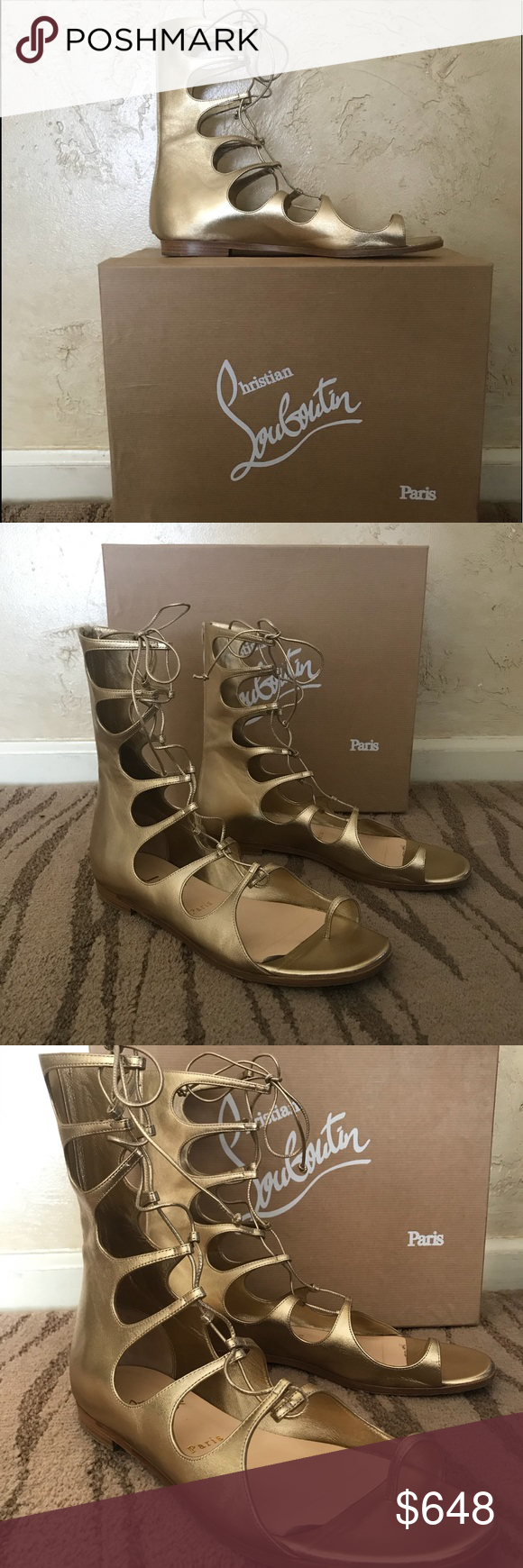 4906c4edfbc8 Christian Louboutin Sparty Gladiator Sandals😍😍💜 Absolutely perfect  Condition!!💚💚💚💚light gold color...zips up the back😍😍one of a  kind...not in ...