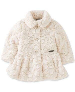 86b0e81a6217 Calvin Klein Baby Girls  Faux Fur Coat - Tan Beige 3-6 months ...