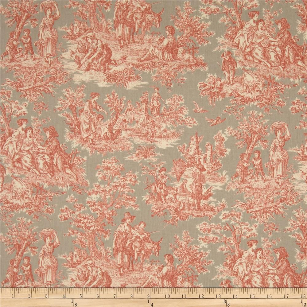 Waverly Charmed Life Toile Clay from @fabricdotcom  Screen printed on cotton duck; this versatile medium weight fabric is perfect for window treatments (draperies, valances, curtains and swags), accent pillows, duvet covers and upholstery. Colors include cream, orange and taupe. This fabric has 45,000 double rubs.
