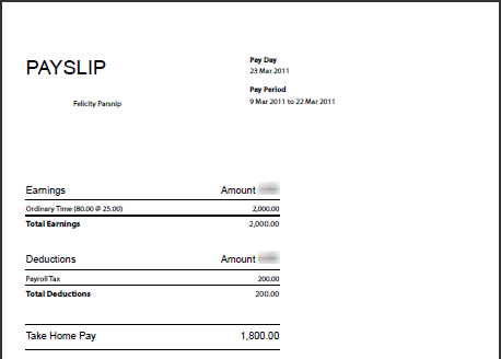 Payslip Sample Payslip with YTDItemised Payslips for Business – Sample Pay Slip