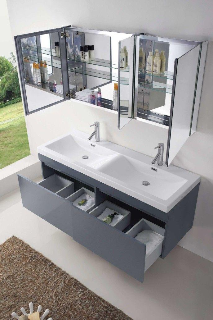 Abersoch 55 Inch Wall Mounted Double Sink Grey Bath Vanity