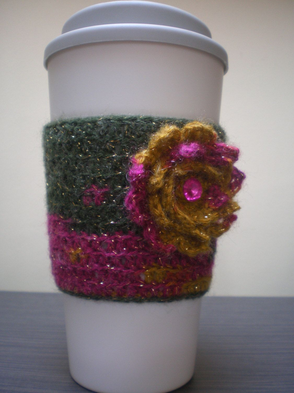 Flower coffee cozy by AshCraftShop on Etsy