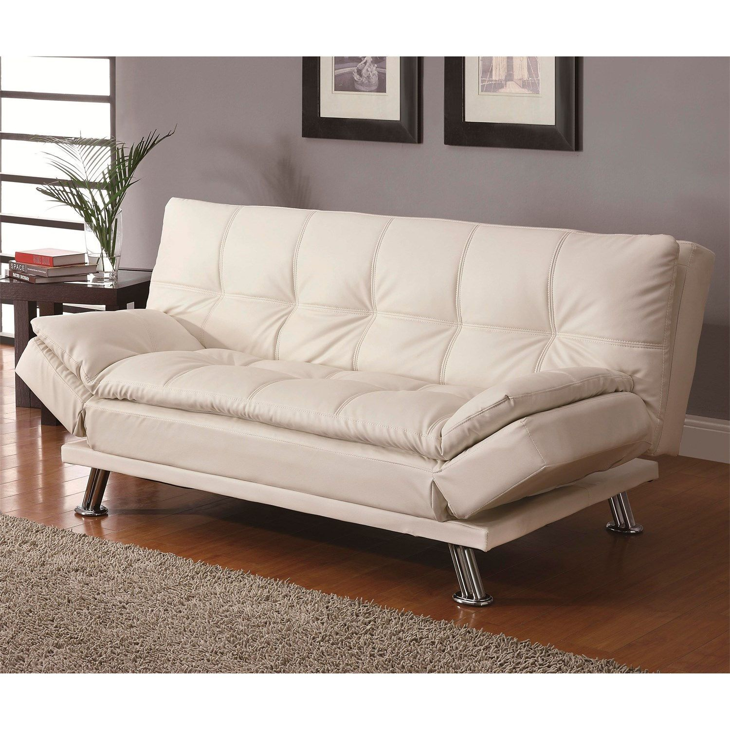 Coaster Furniture 300291 Contemporary Futon Sleeper Sofa Bed In Whi