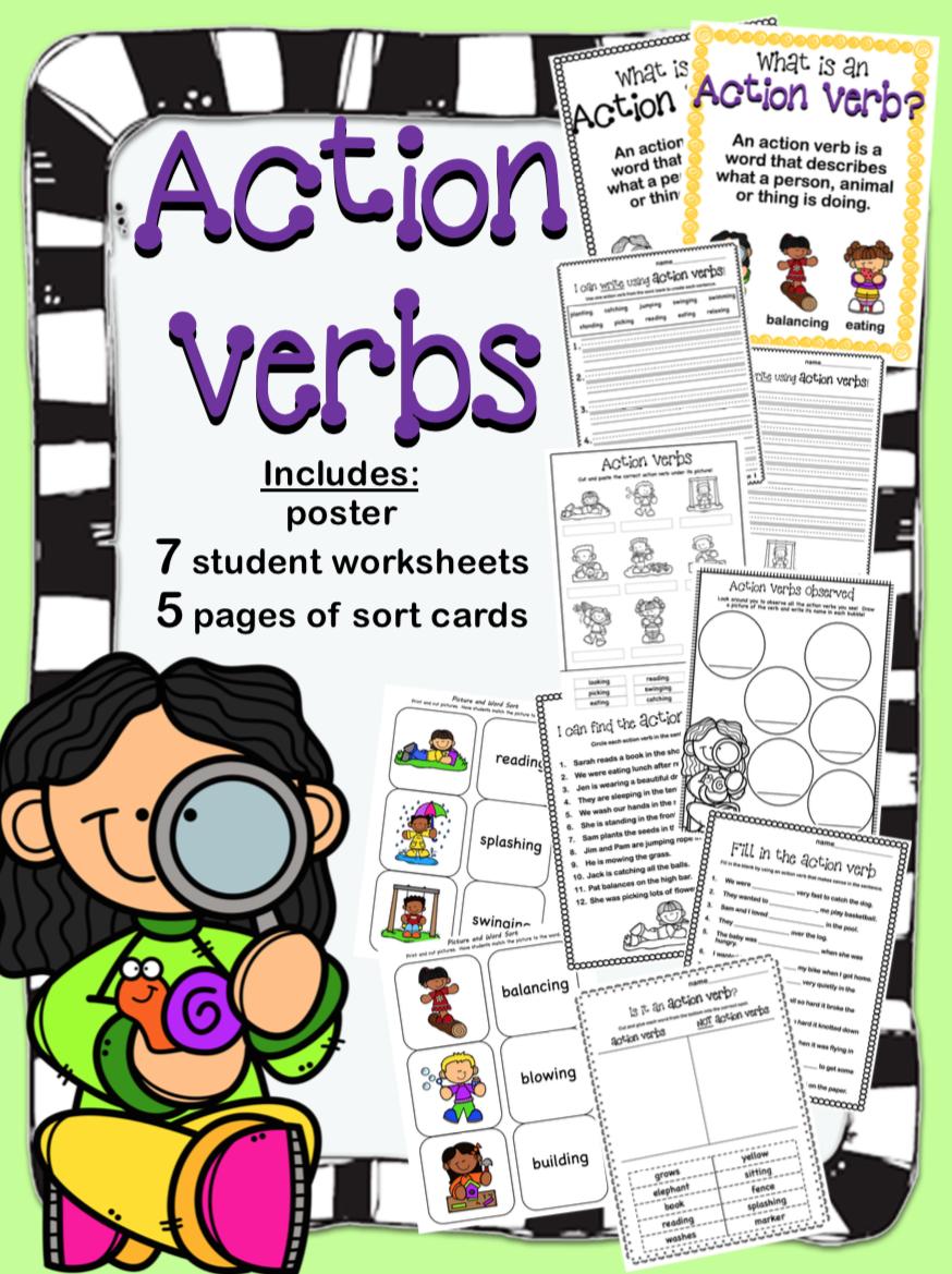Action Verb Worksheets Action Verbs Worksheet Action Verbs Verb Worksheets [ 1169 x 874 Pixel ]