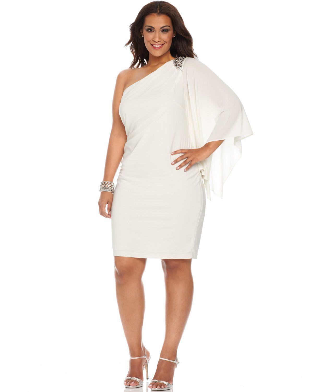 R&M Richards Plus Size One-Shoulder Beaded Dress | macys.com ...