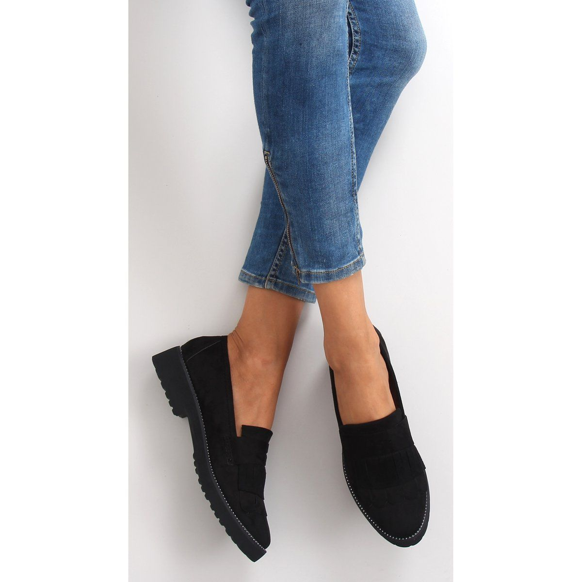 Mokasyny Damskie Wysoka Podeszwa F173p Black Czarne High Heel Shoes Shoes Shoes Heels