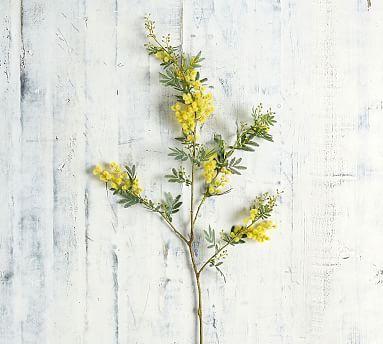 Faux Acacia Branch Yellow Pillows Flowers Yellow Pottery Acacia