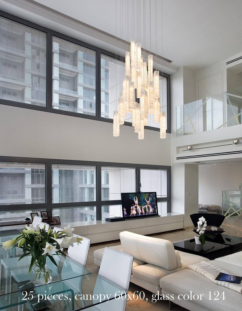 Large Modern Chandelier Light For High Ceiling Etsy In 2020 Modern Lighting Chandeliers Modern Chandelier Modern Room