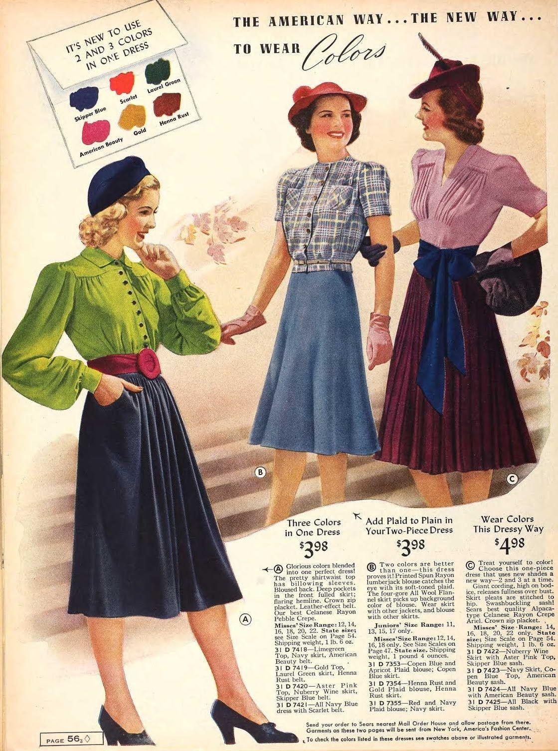 1939 Fashions In Colour Fashion Vintage Style Dresses 1940s Fashion