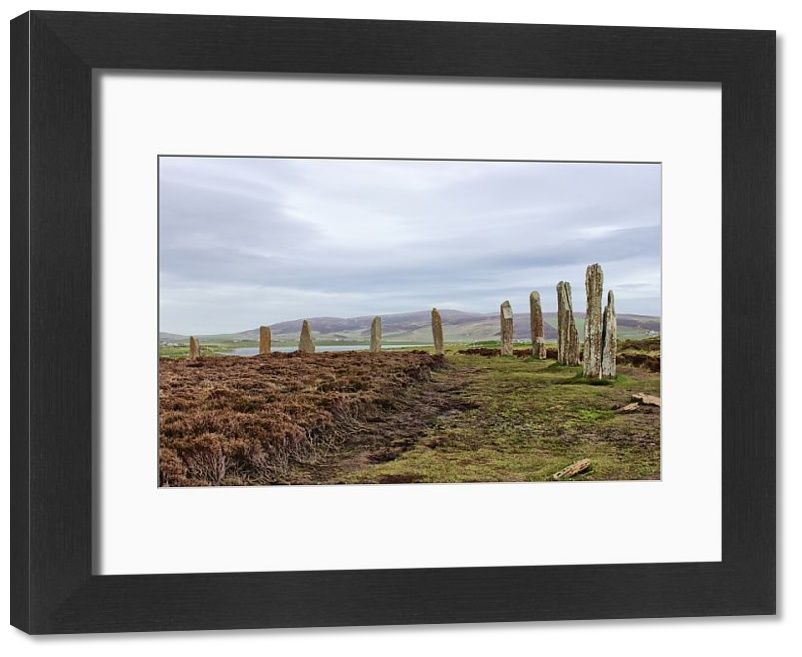 Framed Print-Ring of Brodgar, Orkney Islands-14x12 inch Frame and mount made in the UK