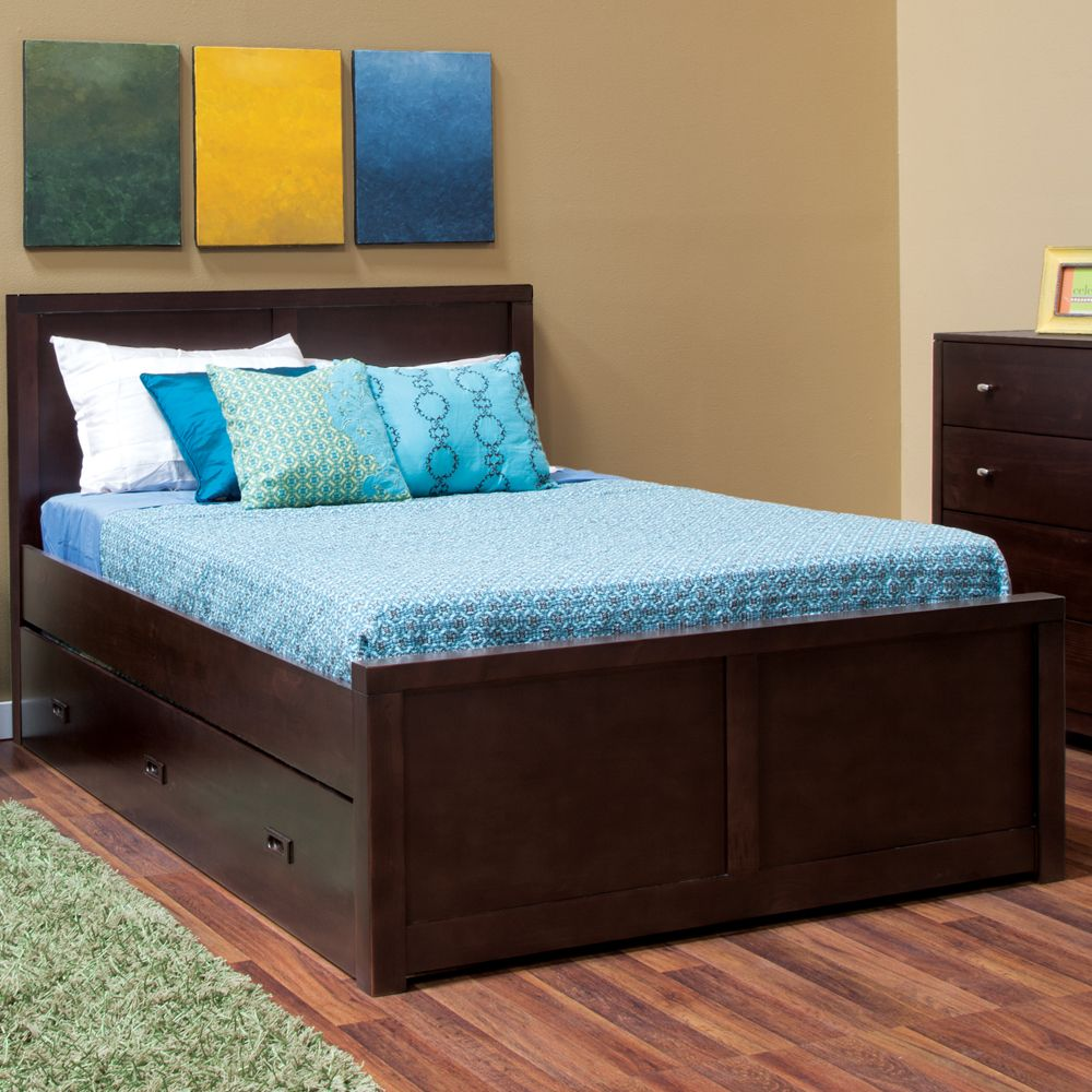 peyton full trundle storage bed has a trundle twin bed that pulls out and has - Wooden Trundle Bed Frame