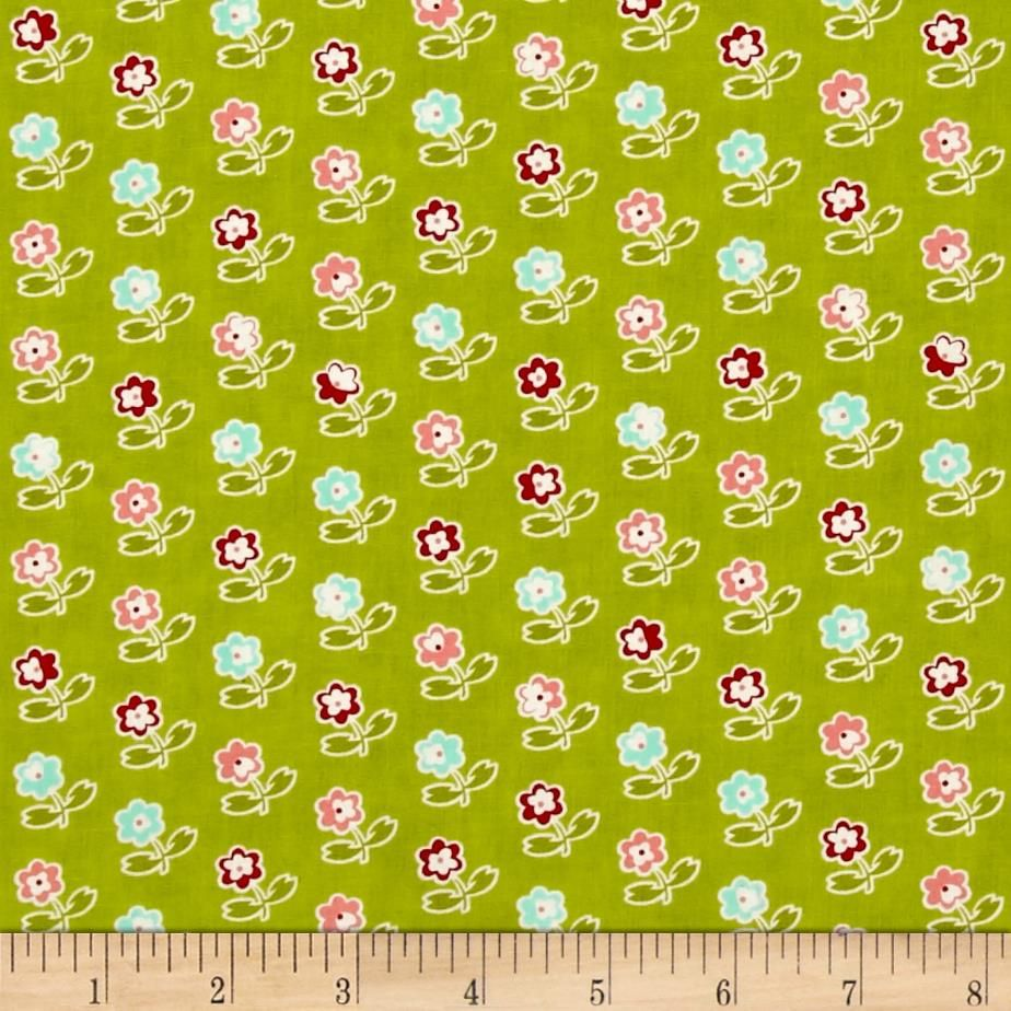 Moda Vintage Picnic Rosie Green from @fabricdotcom  Designed by Bonnie and Camille for Moda, this fabric is perfect for quilting, apparel and home decor accents. Colors include green, pink, magenta, aqua and white.
