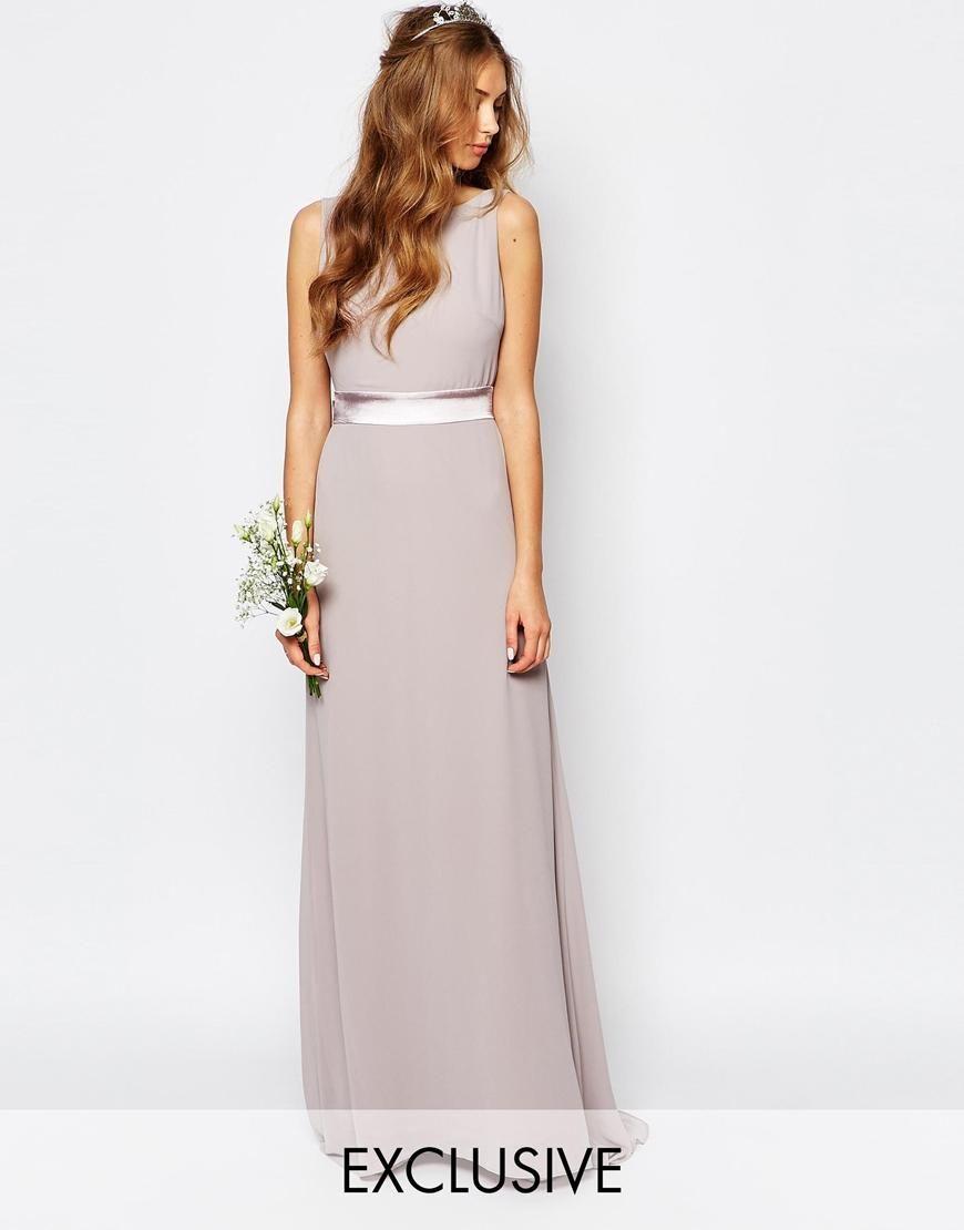 Wedding dress with bow on back  TFNC  TFNC WEDDING Sateen Bow Back Maxi Dress at ASOS  Bridesmade