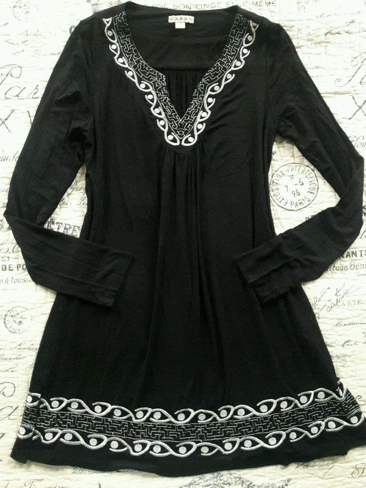 Black bohemian boho embroidered shift dress long sleeve