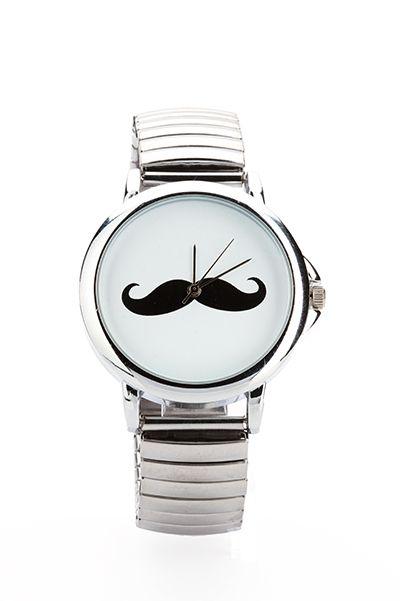 Moustache Round Face Metal Strap Watch