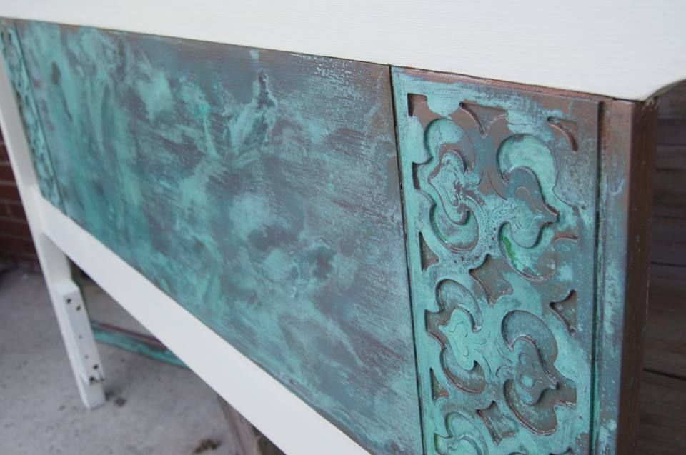 Vintage painted headboard artistically patinated with a blue green Mediterranean style finish and protected with a clear finish. Located: Eclectiques Antique Mall 3265 N, High St Columbus, Ohio 12 - 6 p.m.  7 days a week