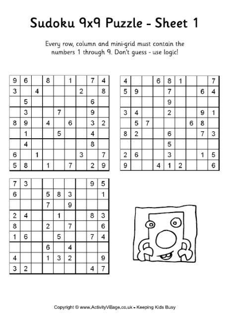 Sudoku 9x9- free printable kids\u0027 puzzles Family Fun Puzzles for