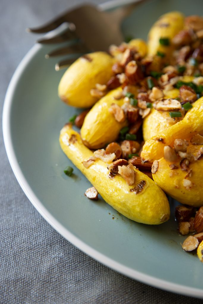 Grilled Baby Yellow Squash With Smoked Almond And Garlic Crumble
