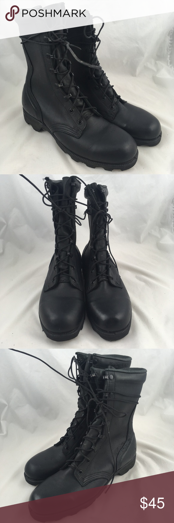 95dded24956f Military jump boots black leather combat lace up 9 Altama RO search men s  military boots
