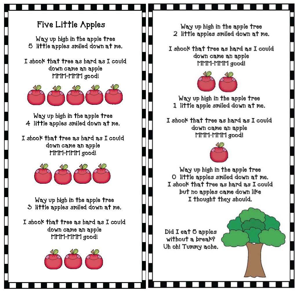 5 little apples in an apple tree activities preschool