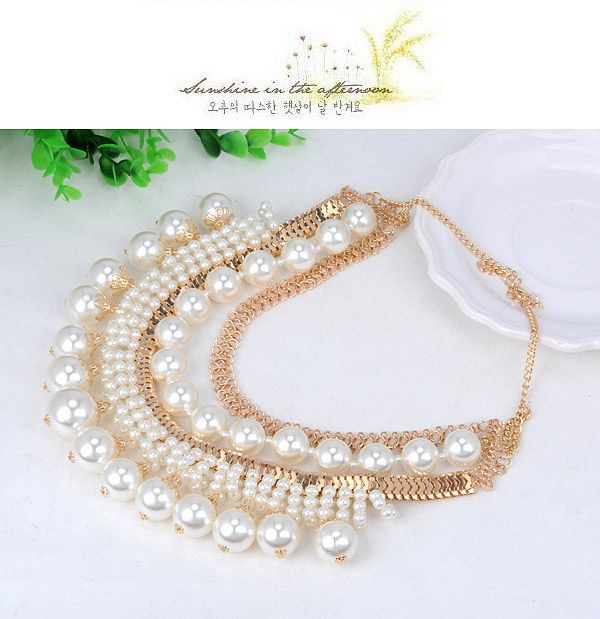 Japanese White & Gold Color Pearl Decorated Multilayer Design Alloy Korean Necklaces,Korean Necklaces